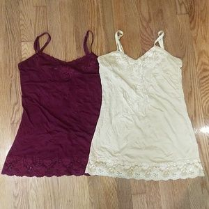 Dress Barn Lot of 2 crinkle camis size s